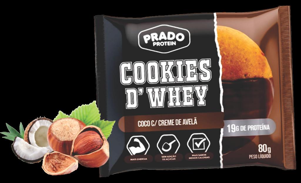 Cookie de Whey sabor Coco com Creme de Avelã