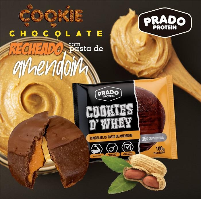 Cookie de Whey sabor Chocolate com Pasta de Amendoim